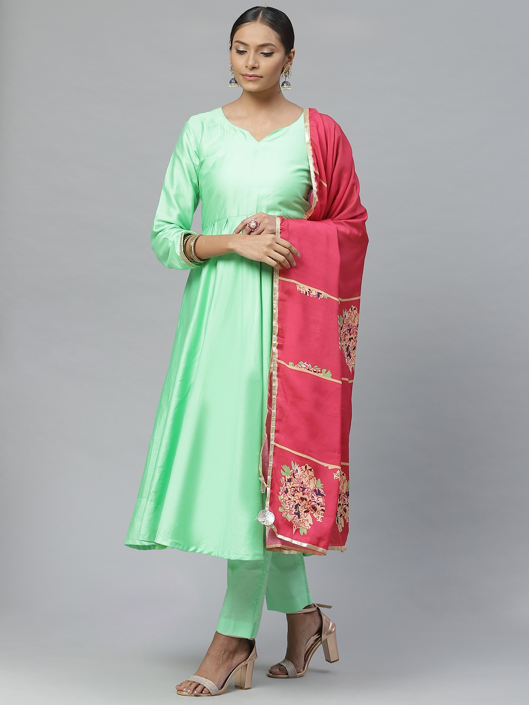 Readiprint Fashions Green   Pink Solid Semi Stitched Dress Material With Dupatta