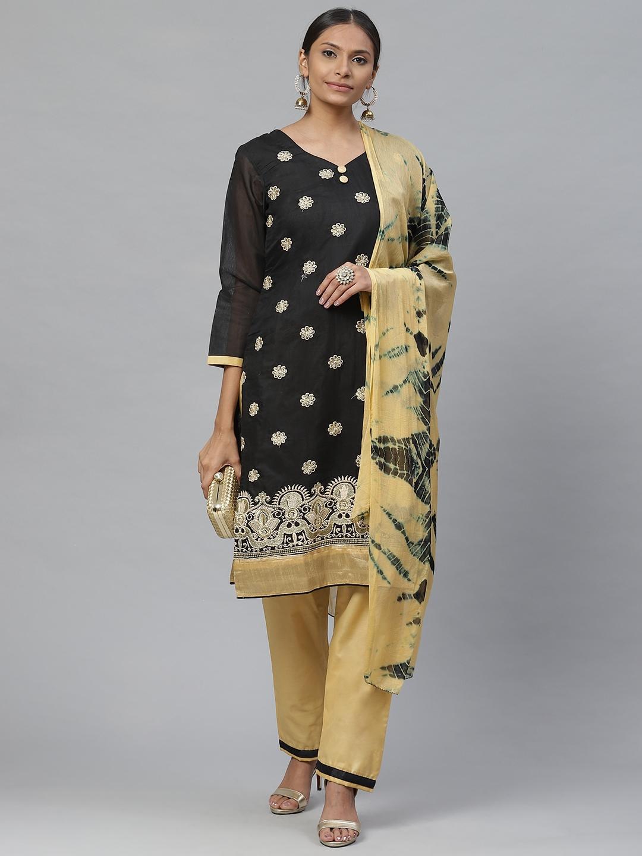 Readiprint Fashions Black   Beige Cotton Blend Unstitched Dress Material