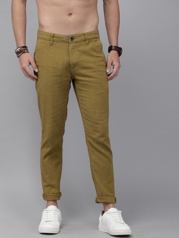 Roadster Men Mustard Brown Regular Fit Solid D8 Trousers