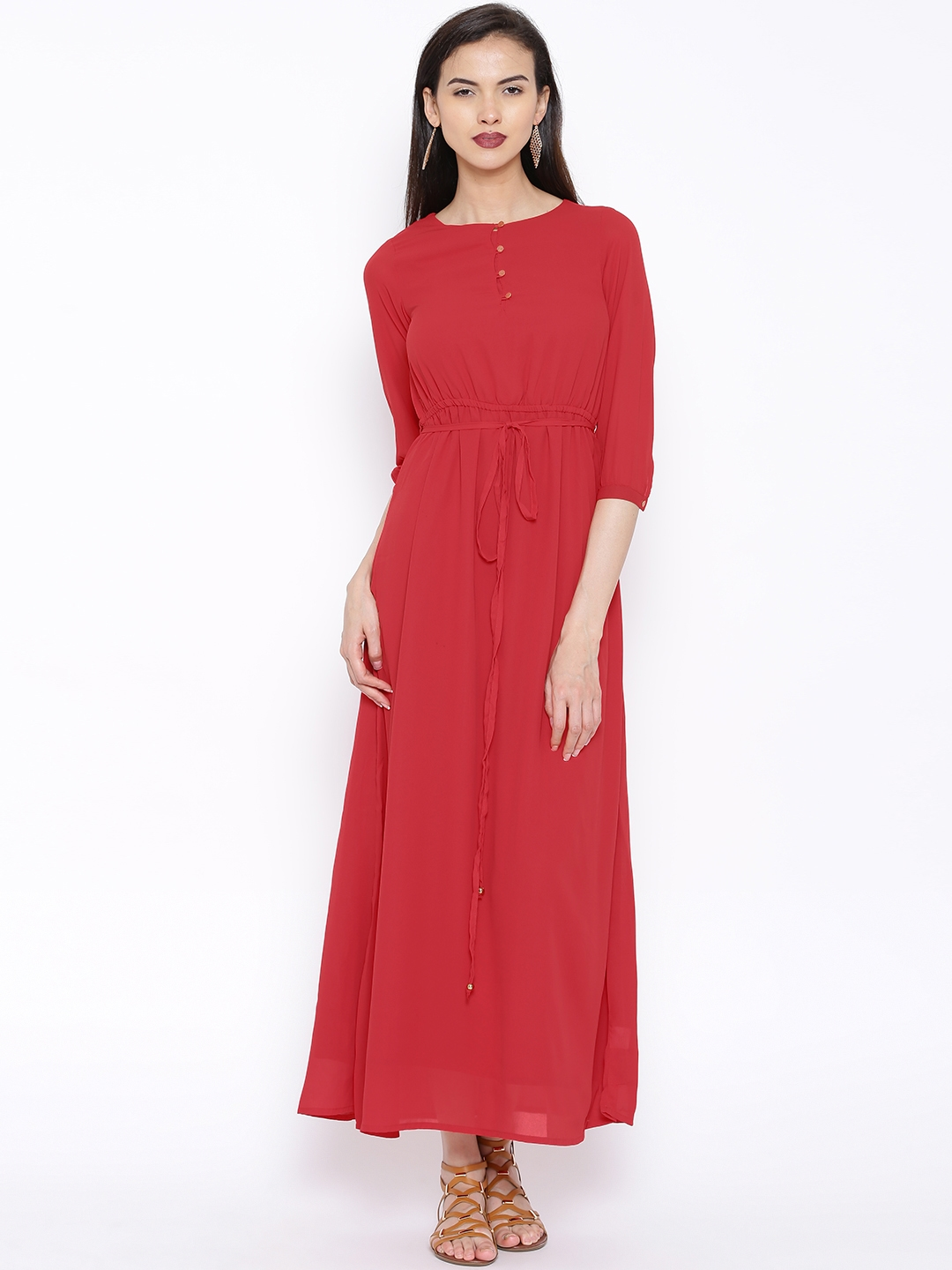 edb9d9d353f Buy Tokyo Talkies Red Maxi Dress - Dresses for Women 1270027 | Myntra