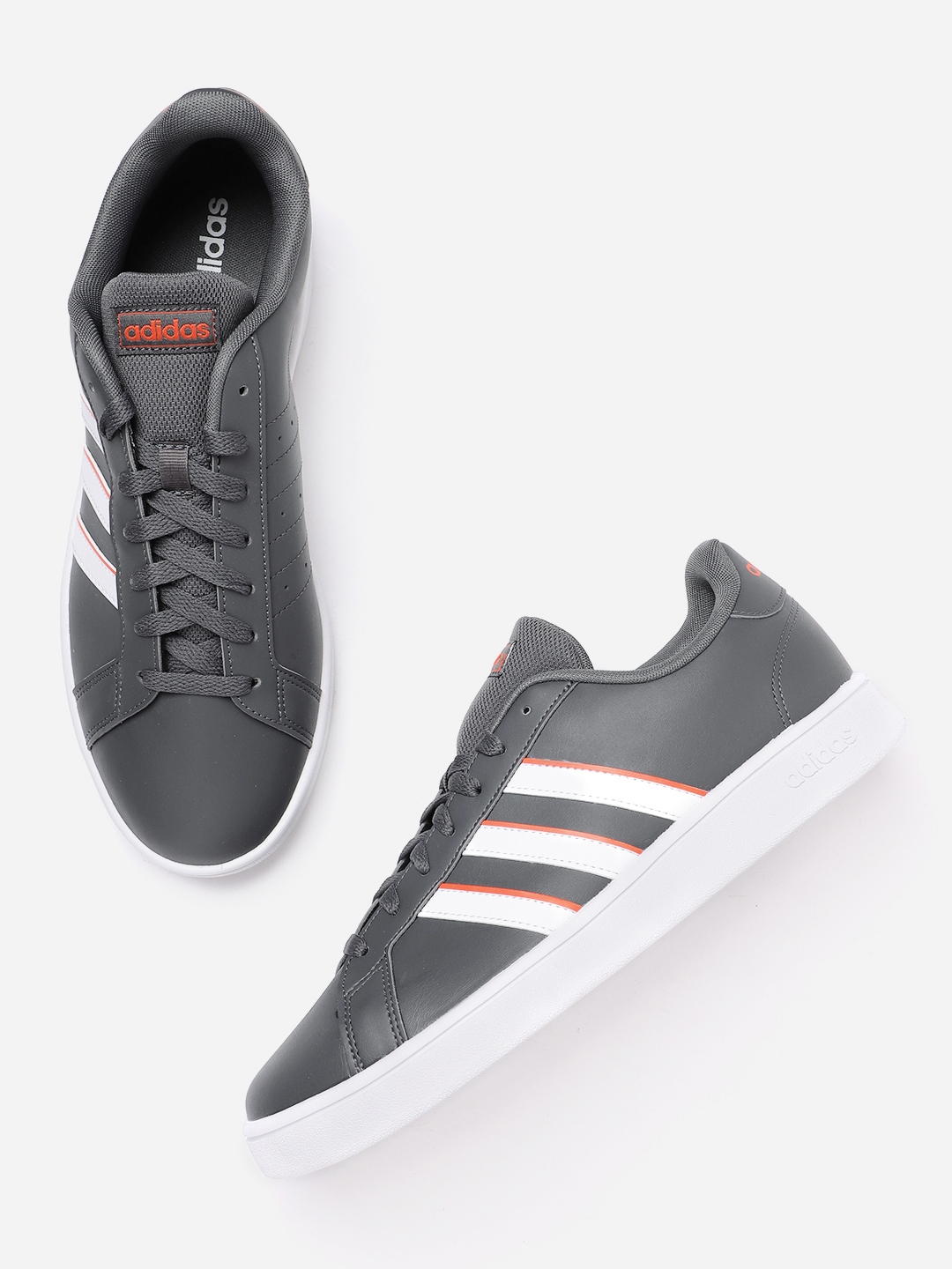 ADIDAS Men Charcoal Grey   White Grand Court Base Sneakers