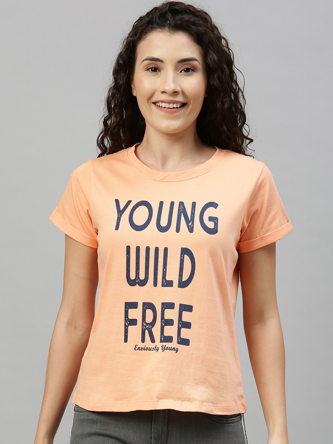 Enviously Young Women Peach Coloured Slim Fit Printed Round Neck T shirt
