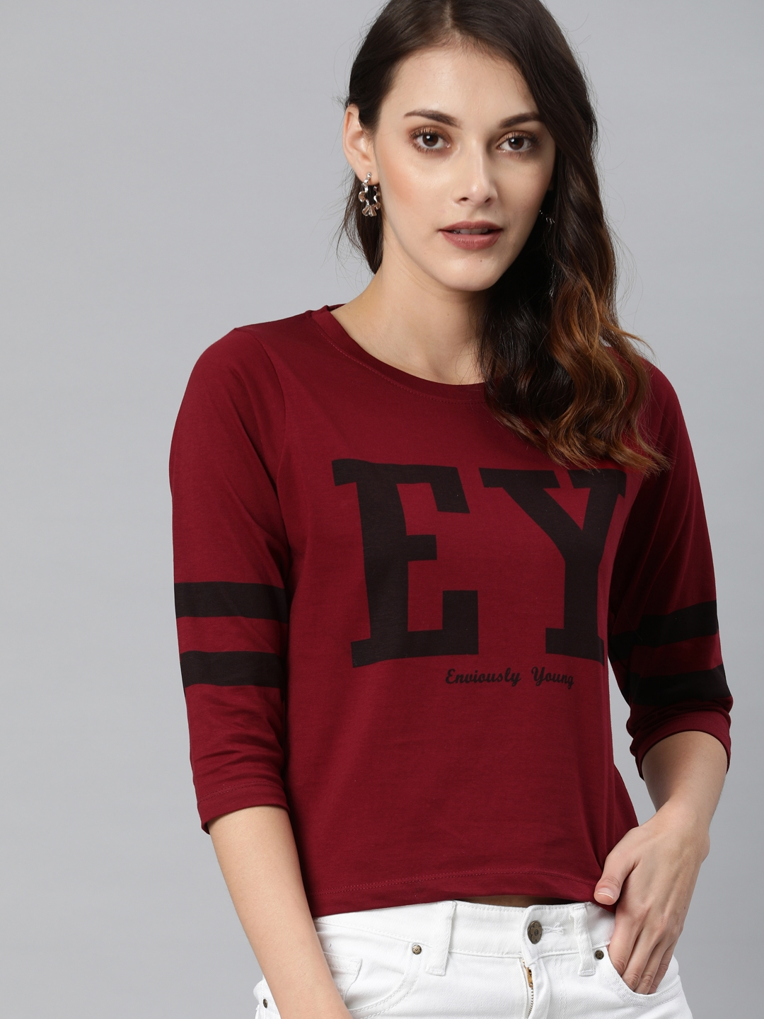 Enviously Young Women Maroon Printed Round Neck T shirt