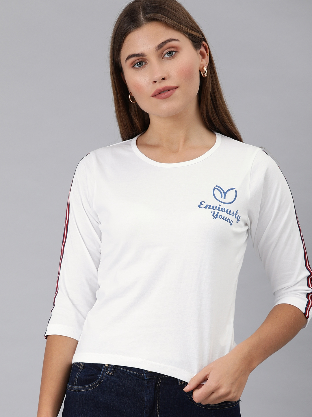 Enviously Young Women White Printed Round Neck T shirt with Side Stripes