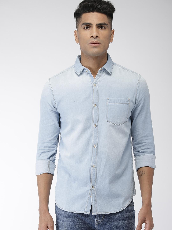 Highlander Men Blue Slim Fit Faded Casual Denim Shirt