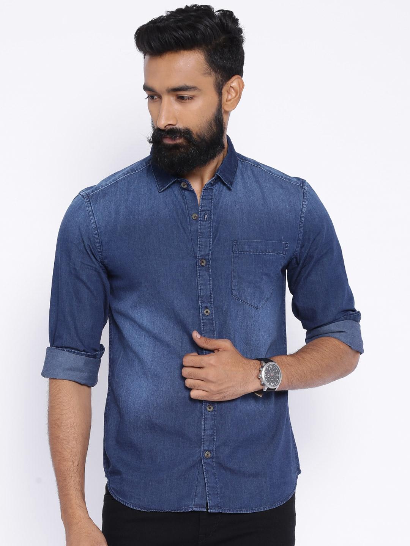 Buy Highlander Blue Slim Fit Denim Shirt - Shirts for Men | Myntra