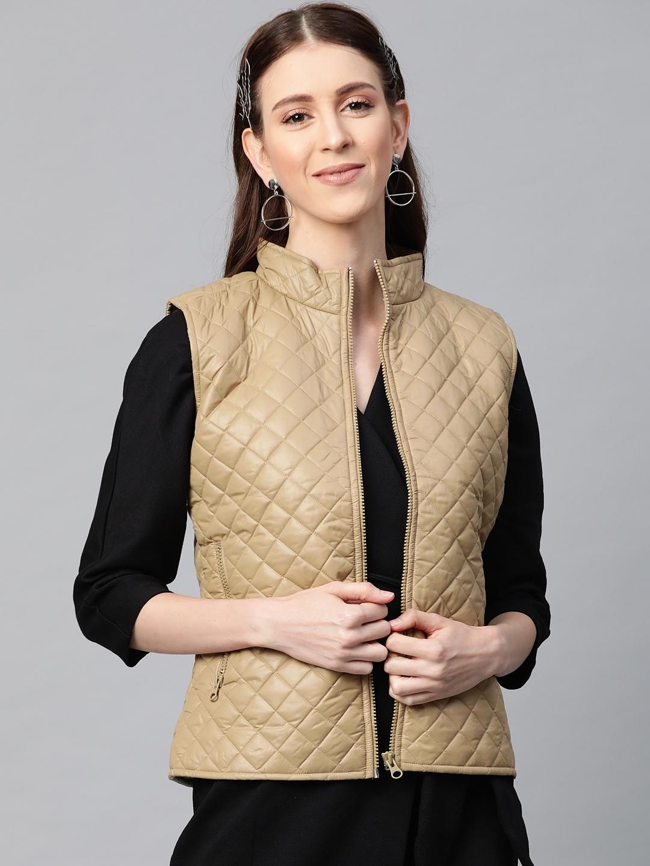 SASSAFRAS Women Khaki Solid Sleeveless Quilted Jacket