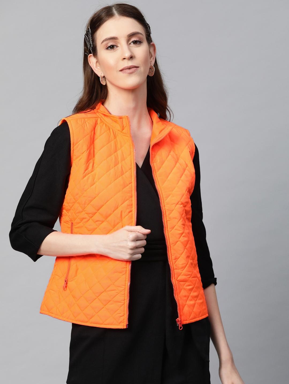SASSAFRAS Women Neon Orange Solid Quilted Jacket