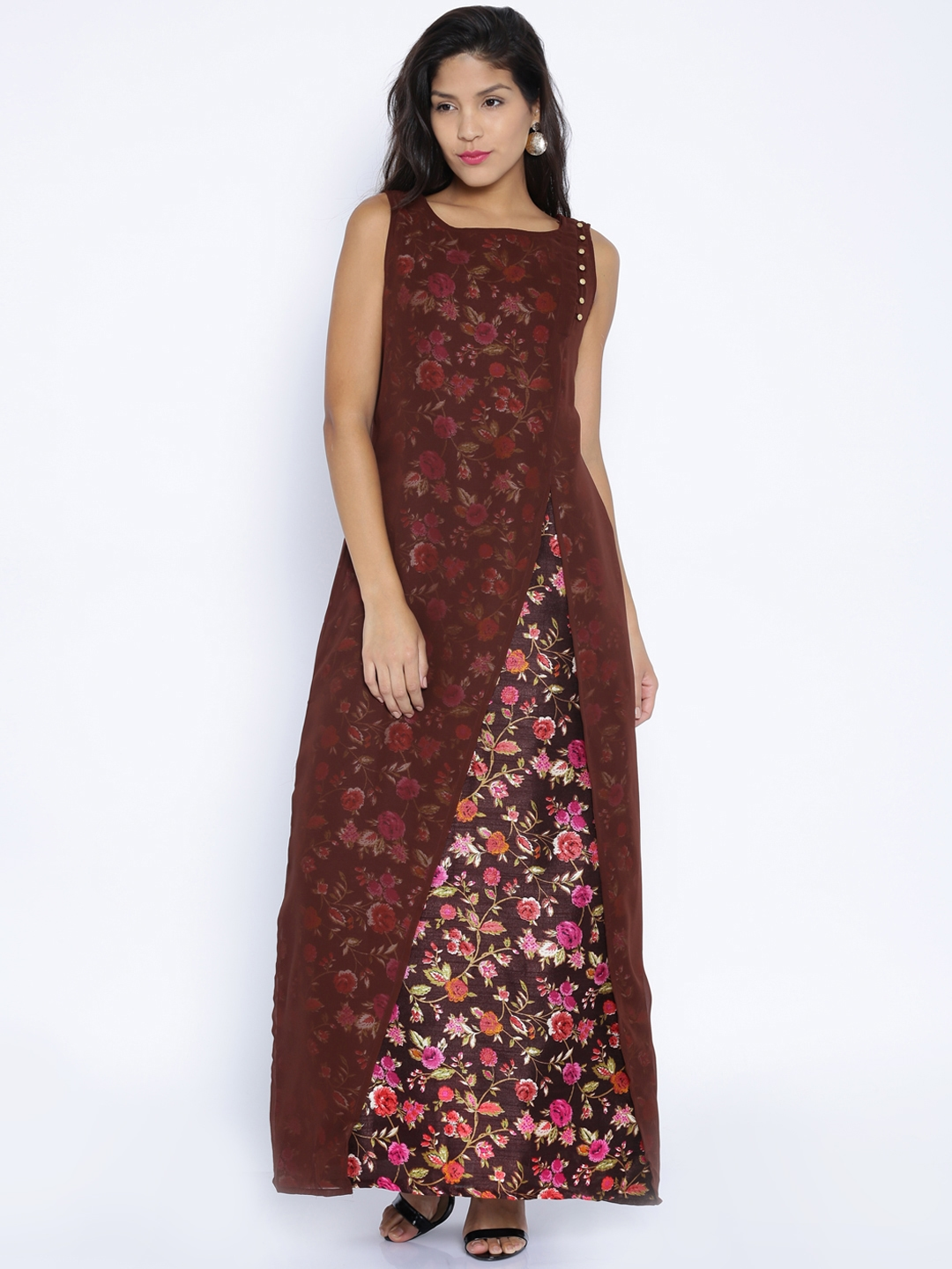 8611809fb6f8 Buy Folklore Coffee Brown Floral Print Layered Maxi Dress - Dresses ...