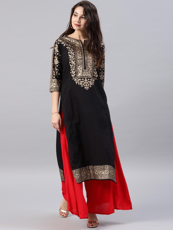 1c68219e182 Buy Vishudh Black Printed A Line Kurta - Kurtas for Women 1274351 ...