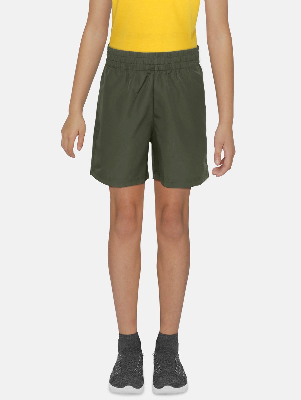 ADIDAS Boys Olive Green Self Checked B Club Tennis Shorts