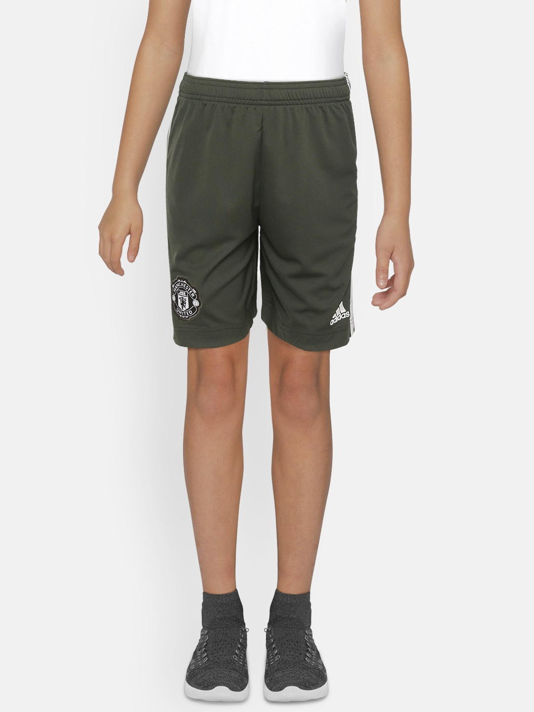 ADIDAS Boys Olive Green Solid Manchester United A Football Shorts