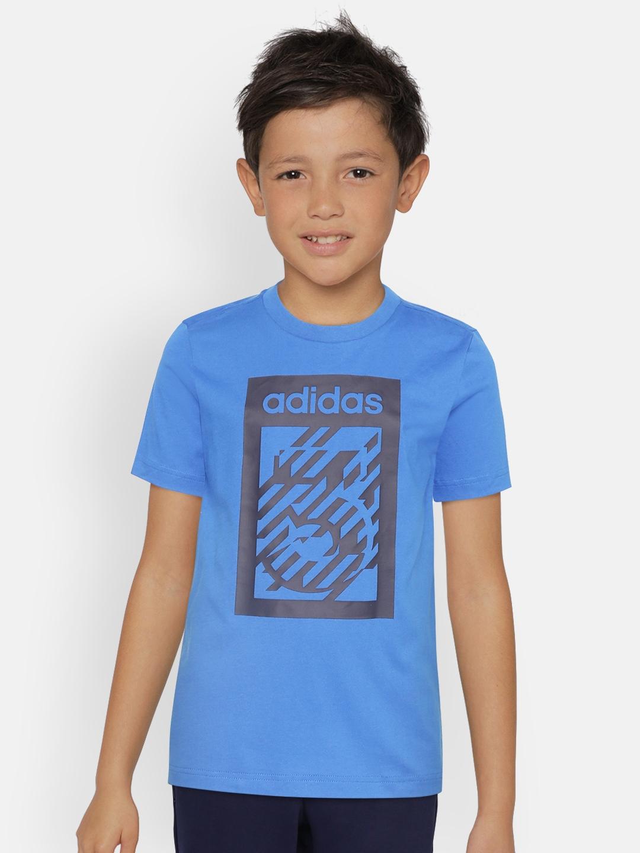 ADIDAS Boys Blue   Black Brand Logo Print T shirt