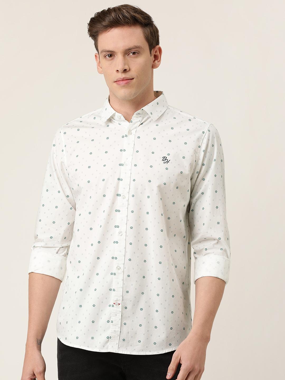 Being Human Men White Slim Fit Geometric Printed Casual Shirt