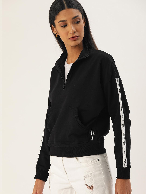 Flying Machine Women Black Solid Sweatshirt with Stripe Detailed Sleeve