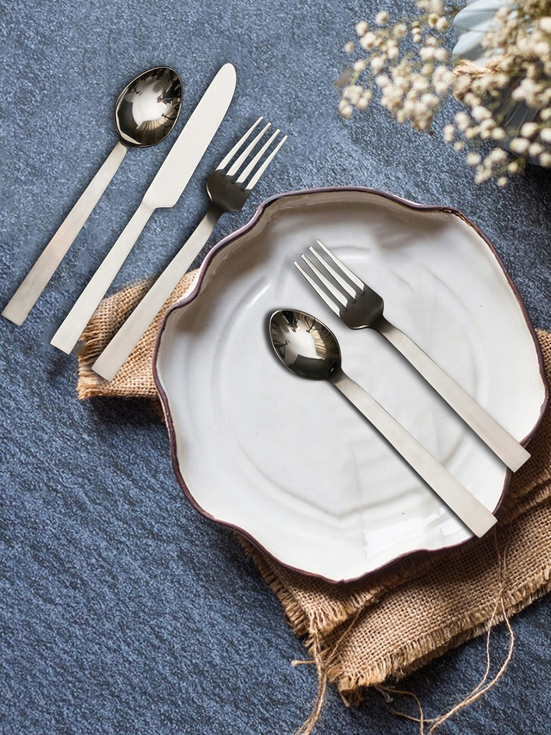 nestroots Set of 5 Silver Toned Stainless Steel Cutlery Set