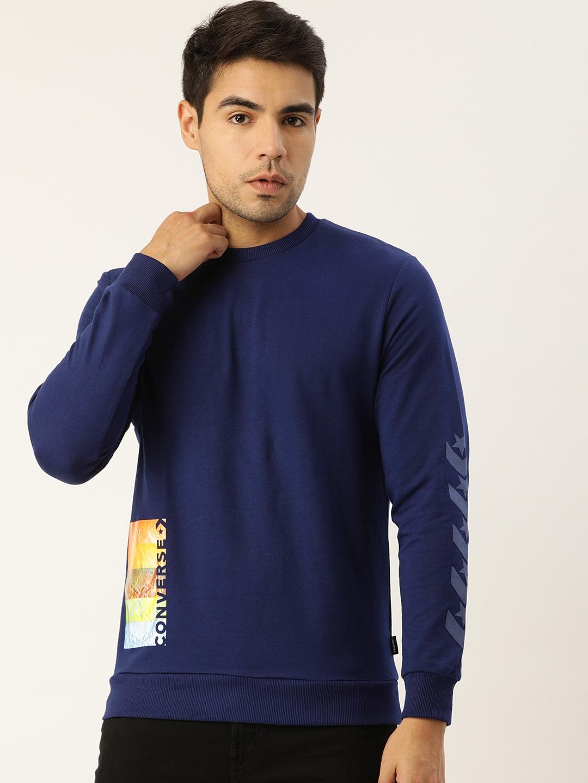 Converse Men Navy Blue   Multicoloured Printed Sweatshirt