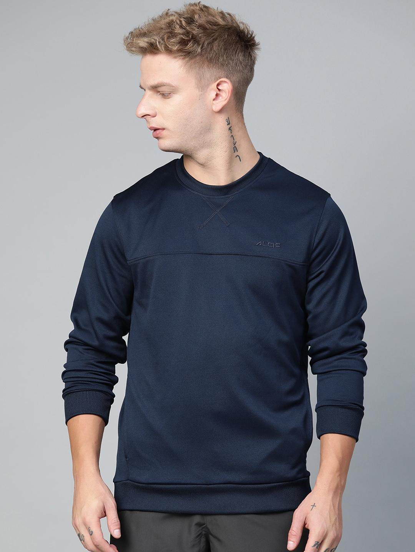 Alcis Men Navy Blue Solid Sweatshirt