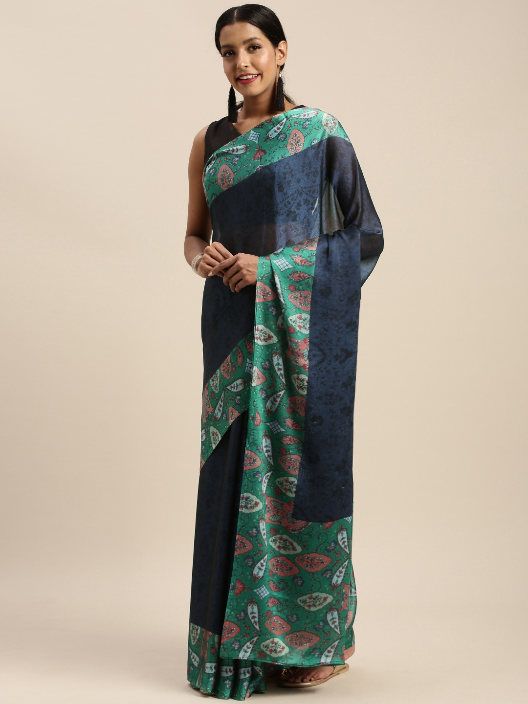 Mirchi Fashion Navy Blue   Green Poly Crepe Printed Saree