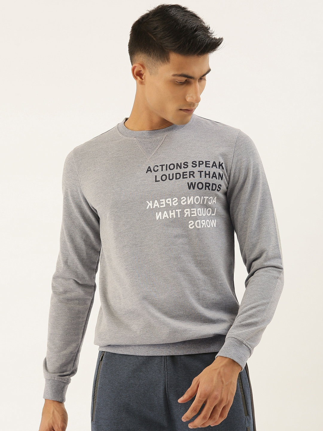 PETER ENGLAND UNIVERSITY Men Grey Printed Sweatshirt