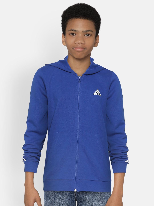 ADIDAS Boys Black Solid MH 3S FZ Hooded Sweatshirts