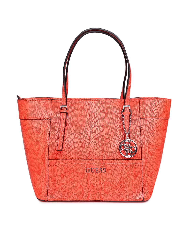99711d4c74 Buy GUESS Orange Croc Patterned Shoulder Bag - Handbags for Women ...