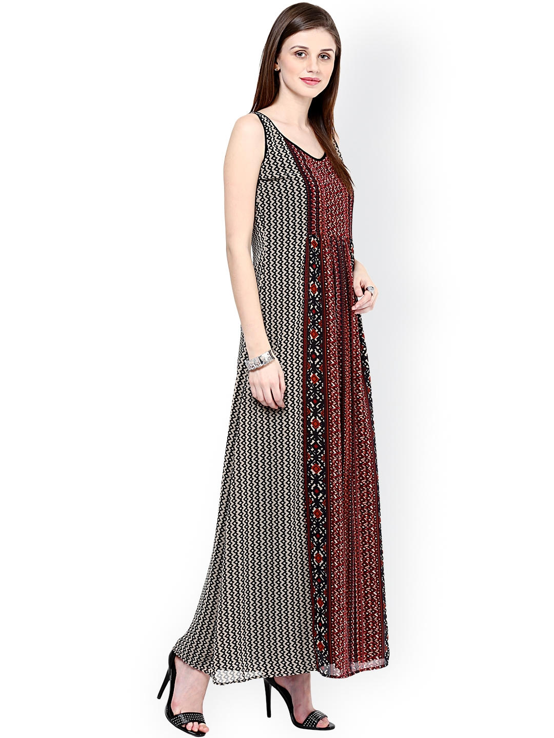 6897b9f99c9 Buy Taurus Beige   Black Printed Maxi Dress - Dresses for Women ...