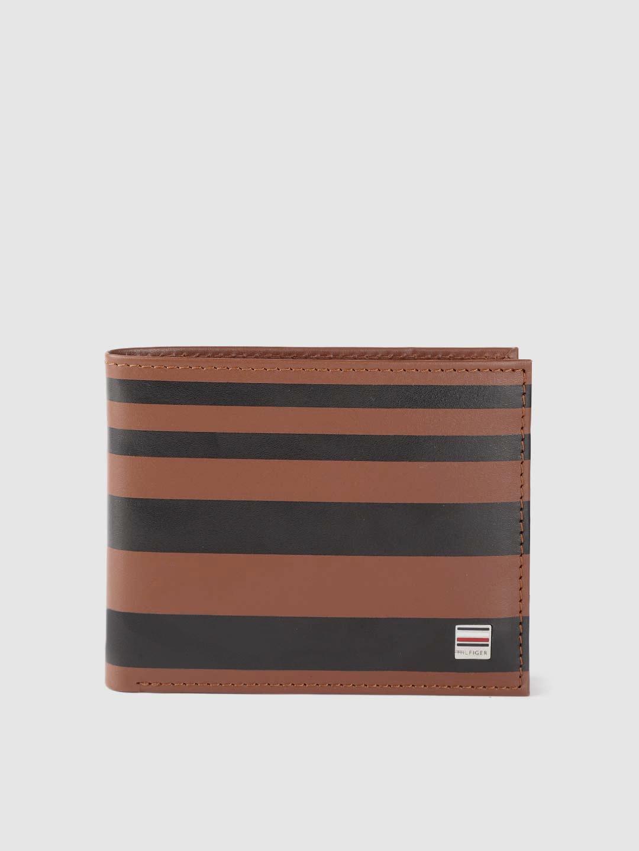Tommy Hilfiger Men Brown   Black Striped Leather Two Fold Wallet