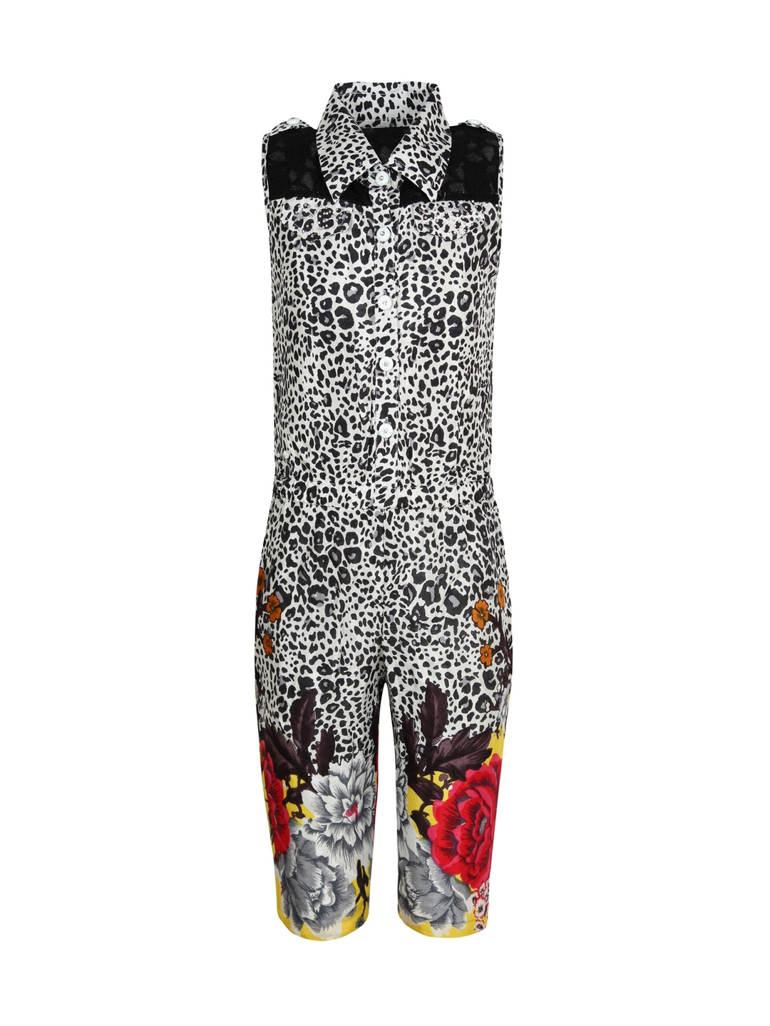 b2be197595a7 Buy Jazzup Girls Black   White Animal Print Jumpsuit - Jumpsuit for Girls  1288524