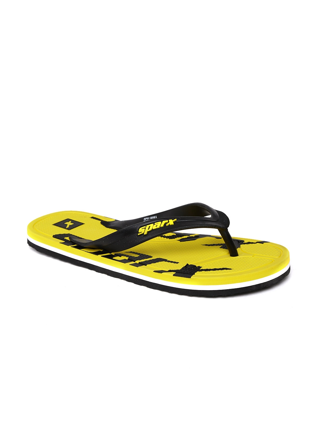 a96e723aa5ff Buy Sparx Men Black   Yellow Printed Flip Flops - Flip Flops for Men ...