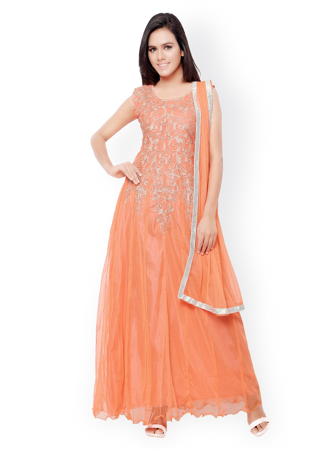 75d8f61be278f Buy Florence Coral Pink Embroidered Net Unstitched Dress Material ...