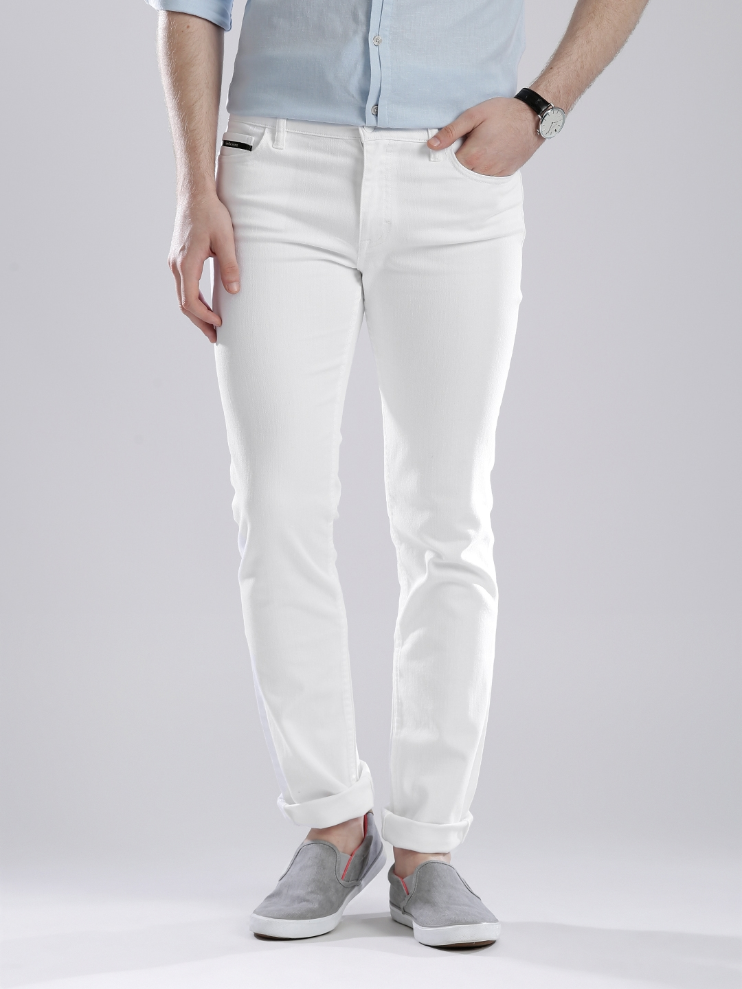 a630c3cf0f9 Buy Calvin Klein Jeans White Skinny Fit Jeans - Jeans for Men ...