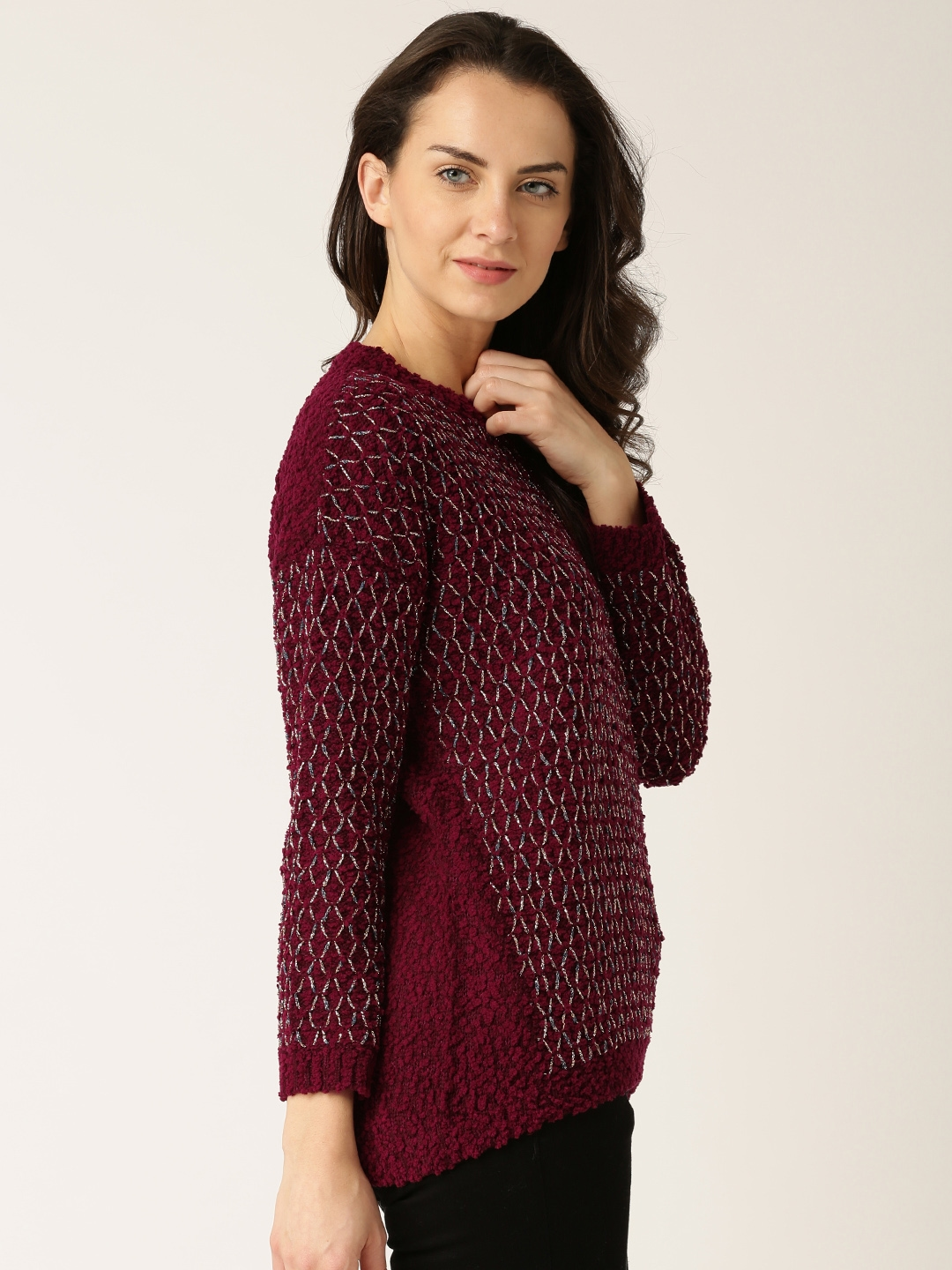 bd6d87df88 Buy DressBerry Maroon   Gold Toned Sweater - Sweaters for Women ...