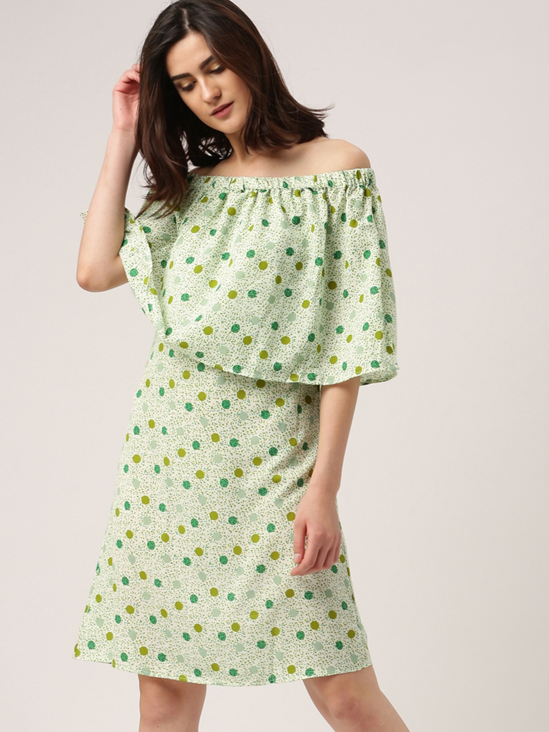 d7d187ea6cd1 All About You from Deepika Padukone Off-White   Green Printed Off-Shoulder  Dress