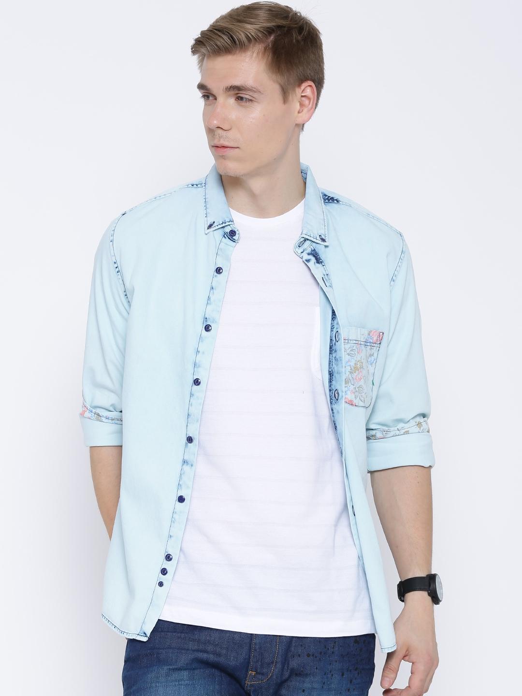 Buy United Colors Of Benetton Blue Denim Shirt - Shirts for Men ... a0437261c12