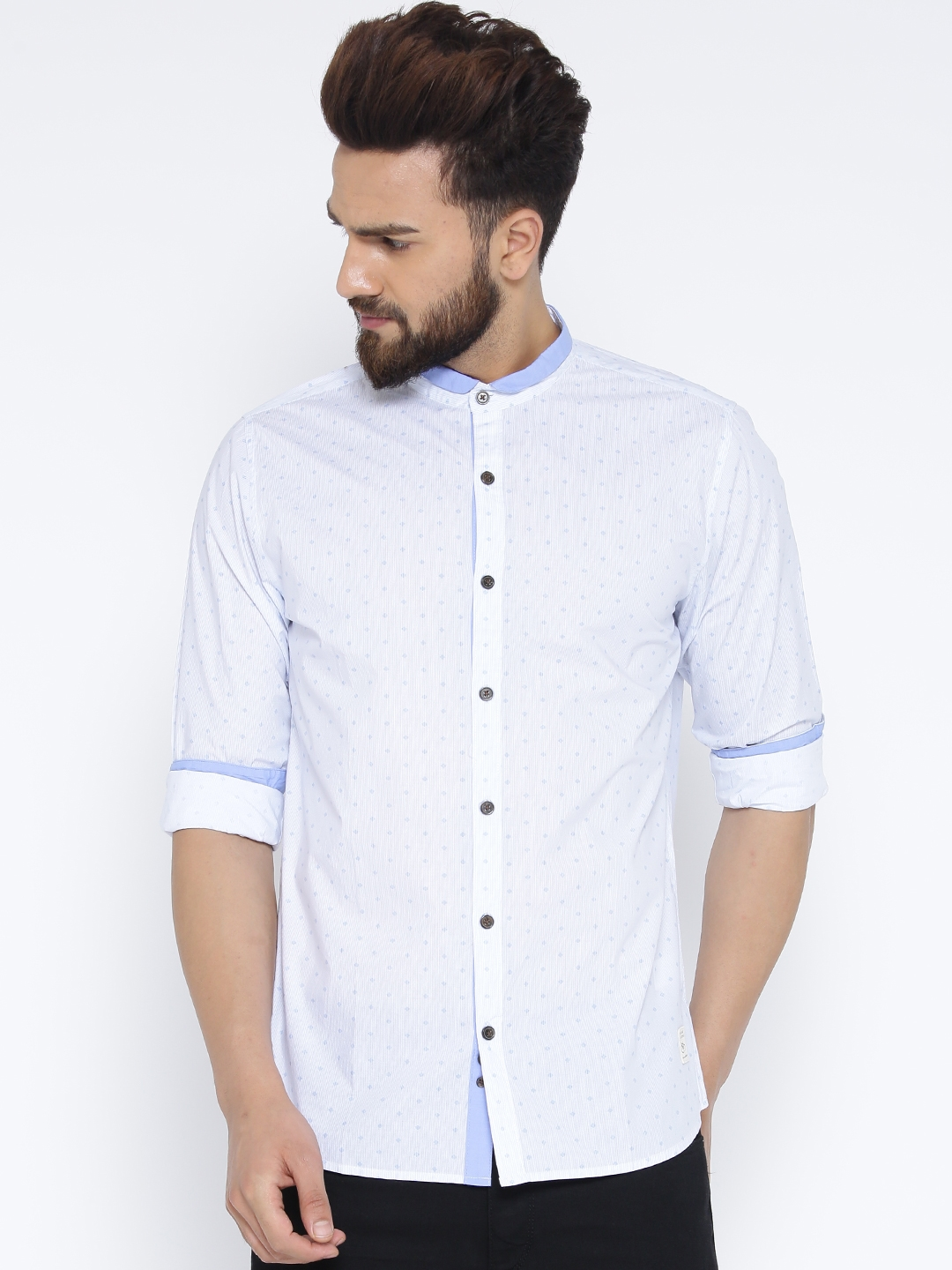 United Colors of Benetton Light Blue Printed Casual Shirt