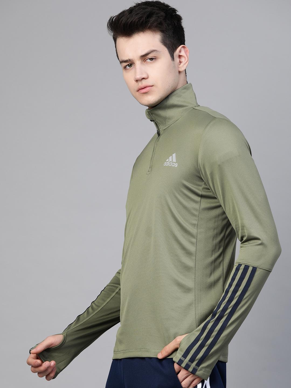 ADIDAS Men Green Self Design Intuitive Warmth 1/4 Zip Long Sleeves Slim fit Sweatshirt