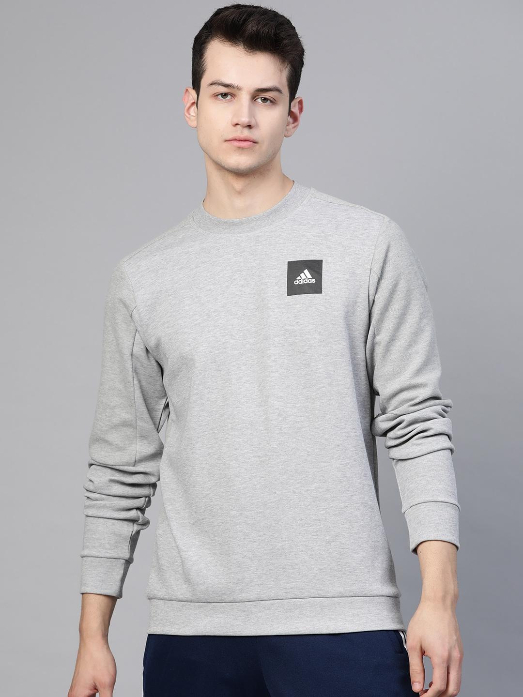 ADIDAS Men Grey Melange Solid Sweatshirt