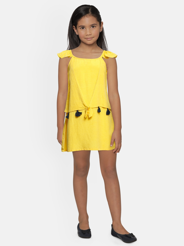 Global Desi Girls Yellow Self Design Sleeveless Tassel Top