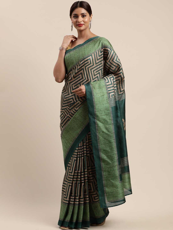 Mirchi Fashion Green   Beige Art Silk Printed Khadi Saree