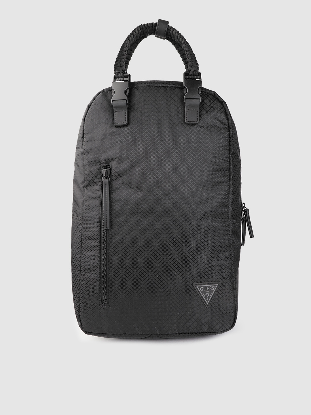 GUESS Women Black Textured 14 Inch Laptop Backpack