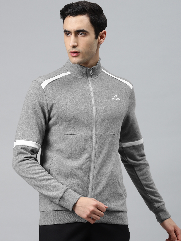 Alcis Men Grey Solid Training Sporty Jacket