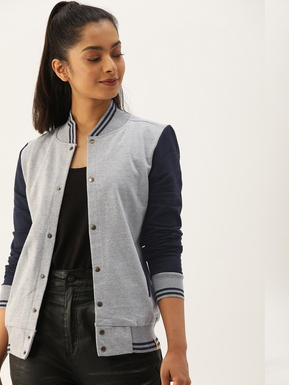 Campus Sutra Women Grey Solid Varsity Jacket