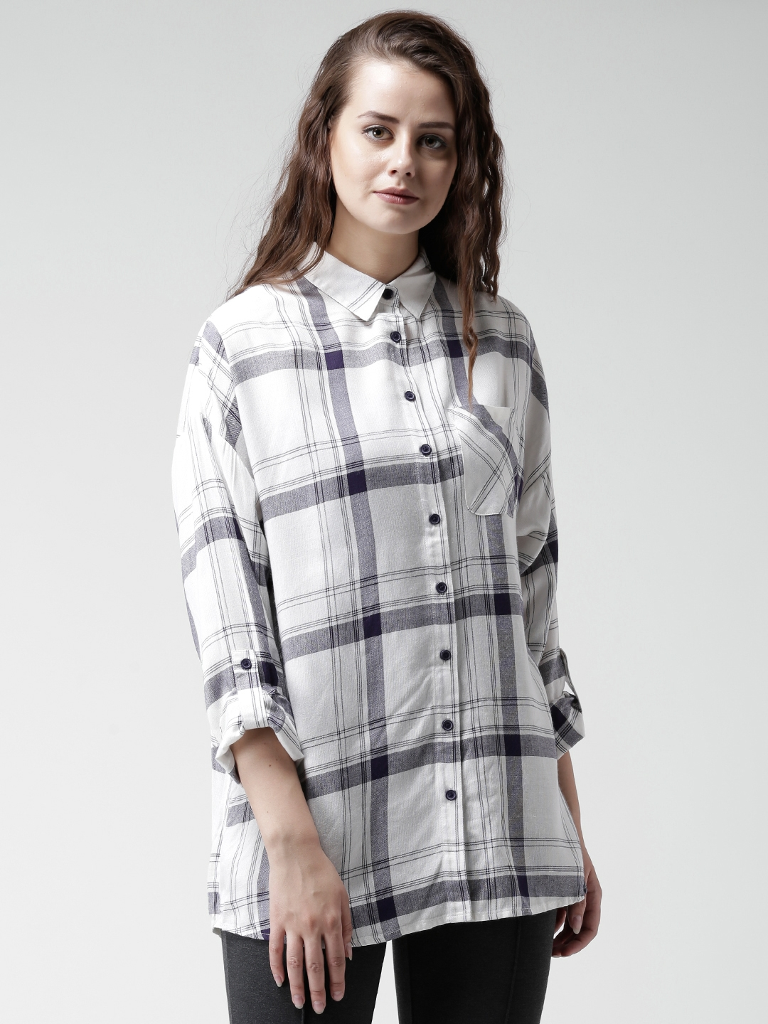 b4426a8f32c5b9 Buy New Look Off White & Navy Checked Shirt - Shirts for Women ...
