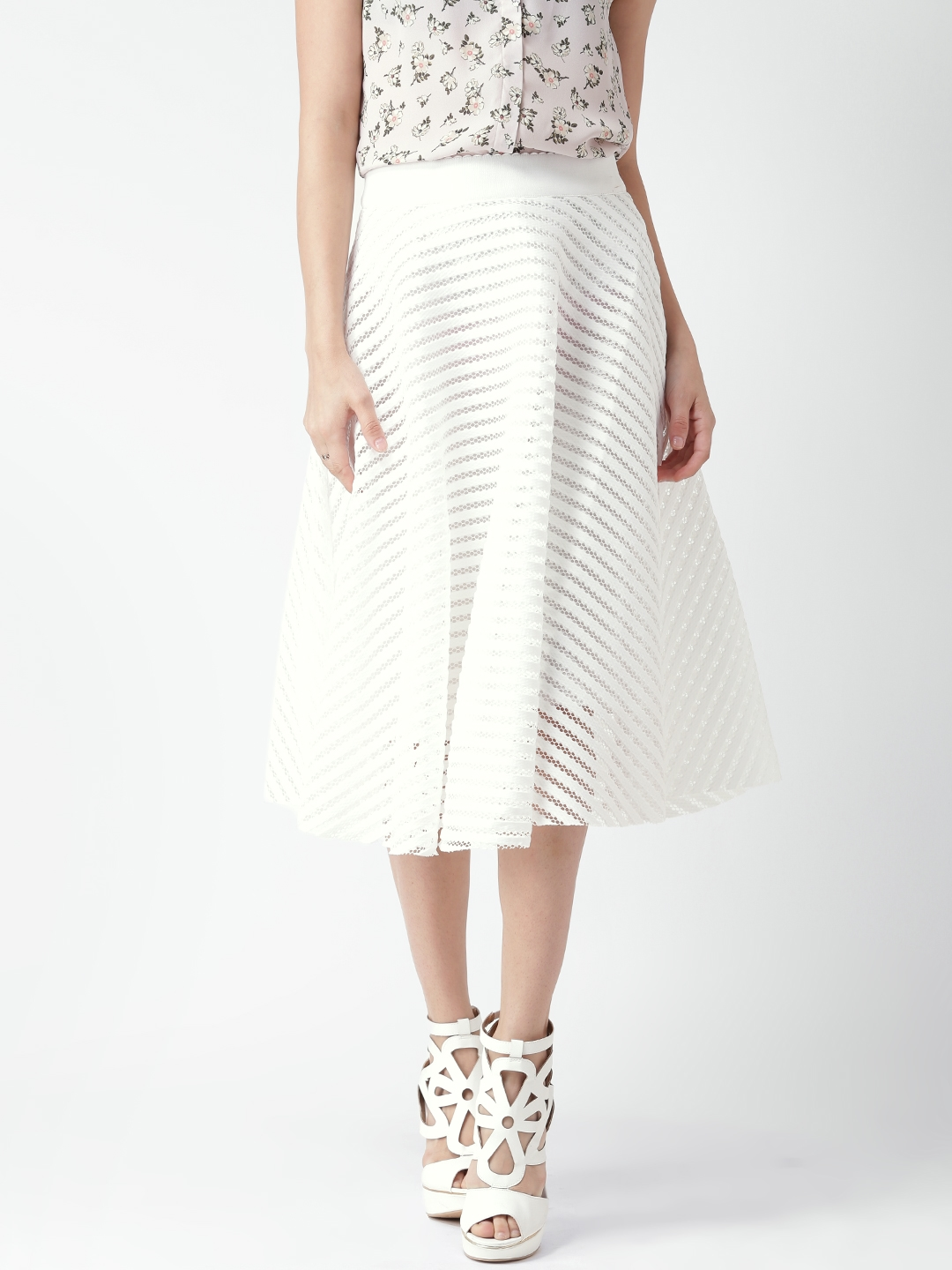 1e99ca77a Buy New Look White Self Striped A Line Midi Skirt - Skirts for Women  1302129   Myntra