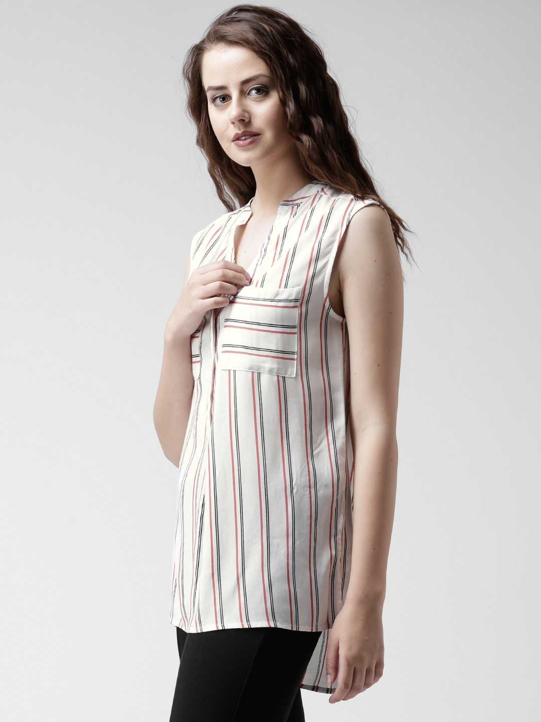 8256d7cc43 Buy New Look White Striped Shirt - Shirts for Women 1302164   Myntra