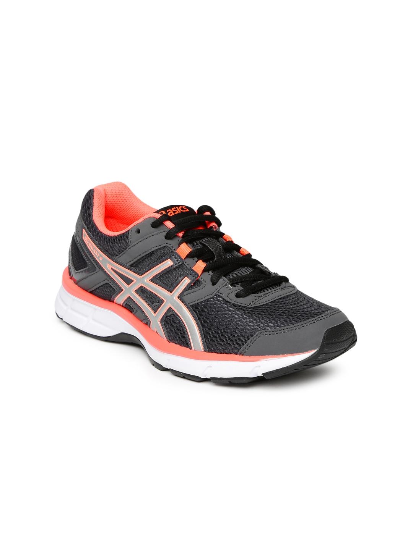 ASICS Women Charcoal Grey & Neon Pink GEL GALAXY 8 Running Shoes