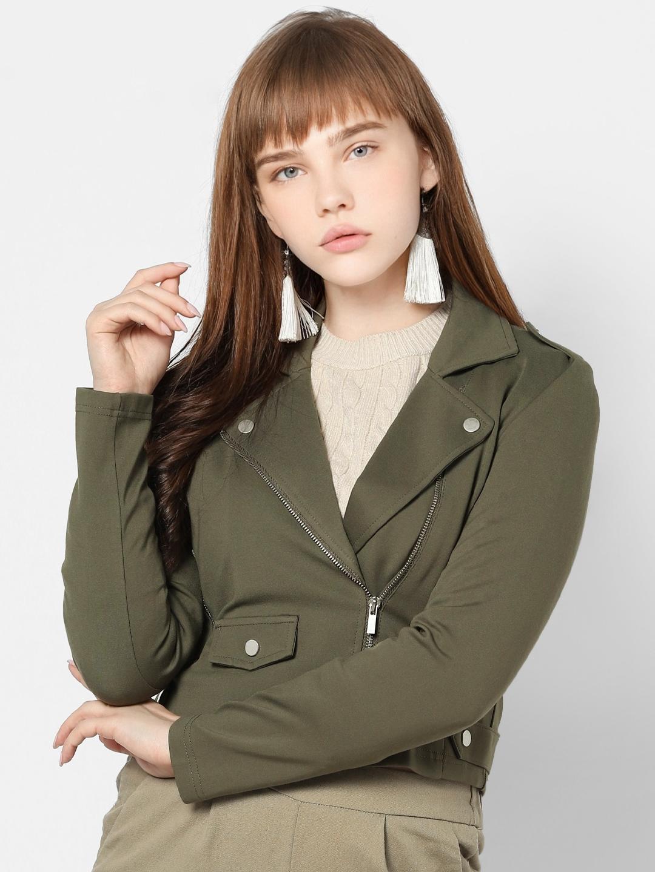 ONLY Women Olive Green Solid Biker Jacket