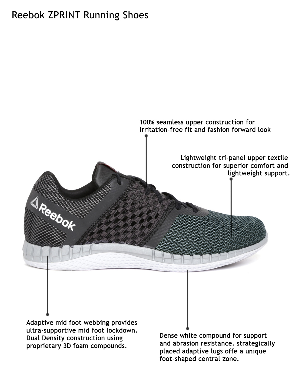 Buy Reebok Men Grey   Black ZPRINT Running Shoes - Sports Shoes for ... 674702e13