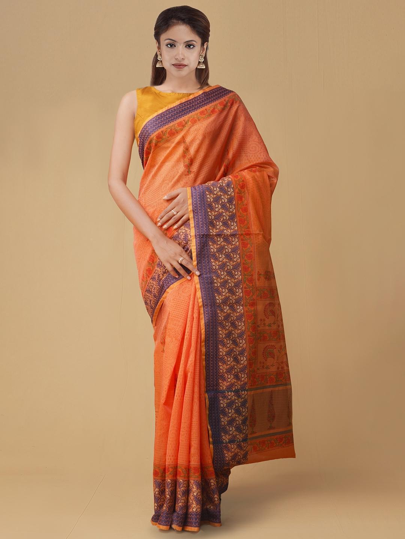 Unnati Silks Orange Printed Silk Cotton Saree